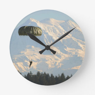 parachute mountains abstract nature fly round clock
