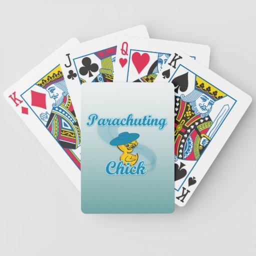 Parachuting Chick #3 Poker Deck