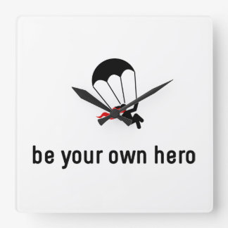 Parachuting Hero Square Wall Clock