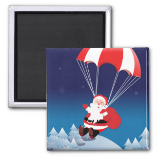 Parachuting Santa 2 Inch Square Magnet