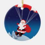 Parachuting Santa Ceramic Ornament
