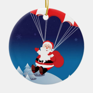 Parachuting Santa Double-Sided Ceramic Round Christmas Ornament