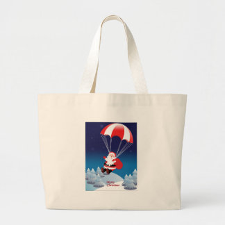 Parachuting Santa Large Tote Bag