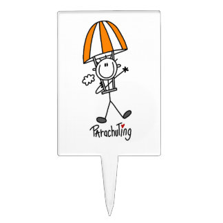 Parachuting Stick Figure Cake Toppers