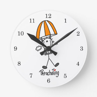 Parachuting Stick Figure Round Clock