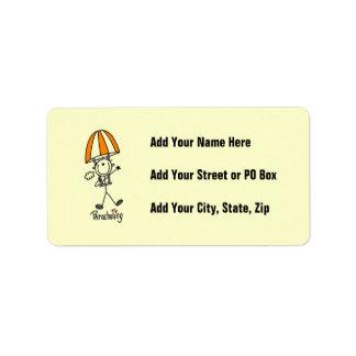 Parachuting Stick Figure Address Label