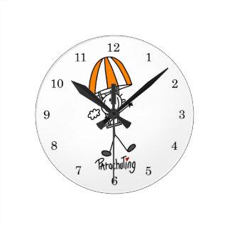 Parachuting Stick Figure Round Clock
