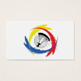Parachuting Tricolor Emblem Business Card