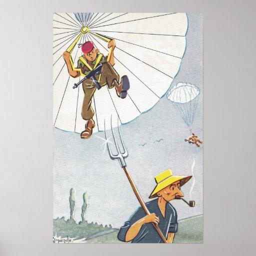 Parachutist landing on a pitchfork poster