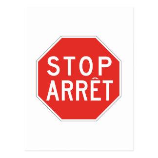 Parada/Arret, señal de tráfico, Canadá Tarjeta Postal