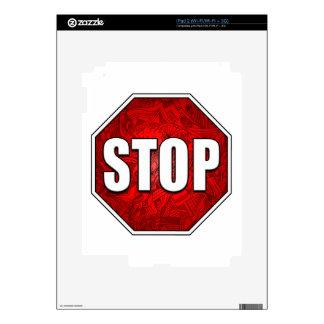 ¡PARADA! Arte/diseño rojos intrépidos brillantes iPad 2 Skins