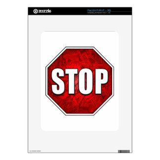 ¡PARADA! Arte/diseño rojos intrépidos brillantes Skin Para El iPad