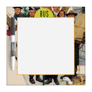 Parada de autobús en el navidad pizarras blancas