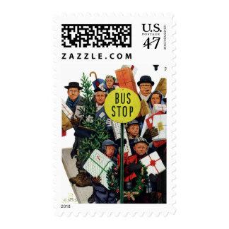 Parada de autobús en el navidad sellos postales