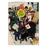 Parada de autobús en el navidad tarjeta de felicitación