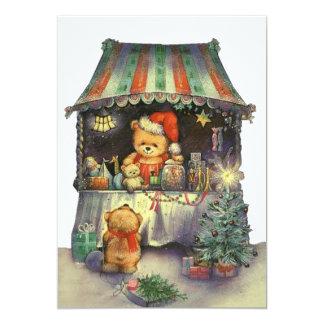 """Parada del mercado del navidad del oso de peluche invitación 5"""" x 7"""""""