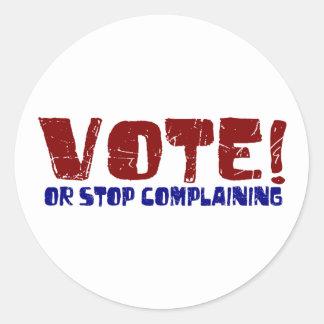Parada del voto que se queja etiqueta redonda