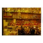 Parada dulce en el mercado alemán del navidad, Man Felicitación