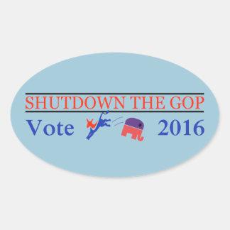 ¡Parada el GOP - voto 2016 - GOTV Democratic! Pegatina Ovalada