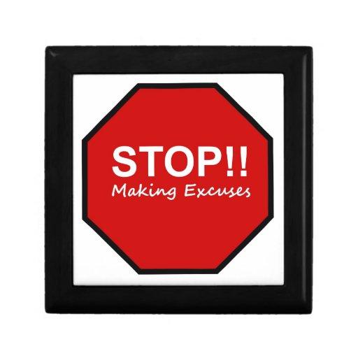 ¡Parada!! Fabricación de excusas Cajas De Joyas
