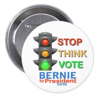 Parada.  Piense.  Vote a Bernie Pin Redondo De 3 Pulgadas