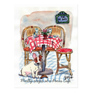 Paradas de Molly en una postal del café de París