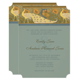 Parade Art Nouveau Peacock Bird Wedding Invitation