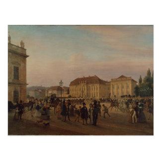 Parade before the royal palace, 1839 postcard