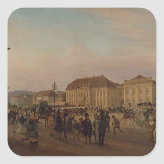 Parade before the royal palace, 1839 square sticker