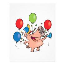 parade celebration party pig cartoon flyer