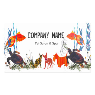 Parade of Pets. Fish Cat Dog Double-Sided Standard Business Cards (Pack Of 100)