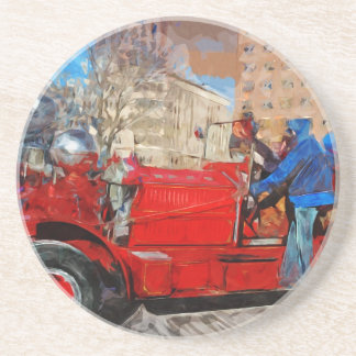 Parading Antique Fire Truck Abstract Impressionism Sandstone Coaster