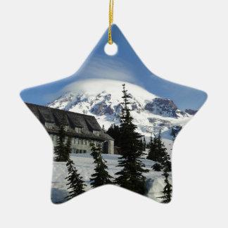 Paradise at Mt. Rainier Double-Sided Star Ceramic Christmas Ornament