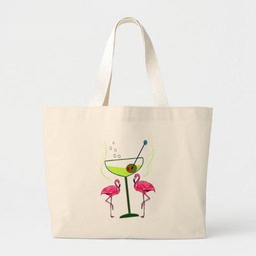 """""""Paradise Awakening""""--Pink flamingo & Martini Tote Bag"""