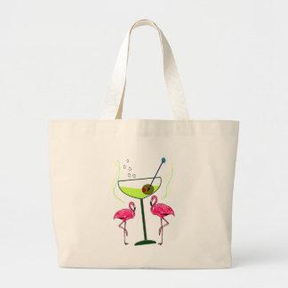 """""""Paradise Awakening""""--Pink flamingo & Martini Large Tote Bag"""