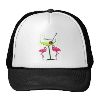 """Paradise Awakening""--Pink flamingo & Martini Trucker Hat"