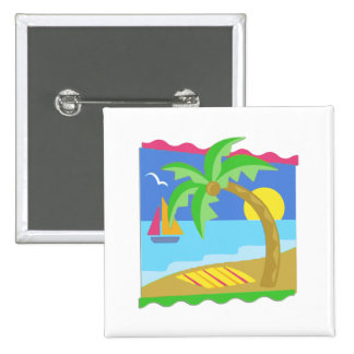 Paradise Beach 2 Inch Square Button