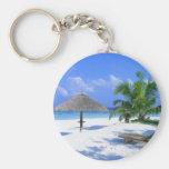 Paradise beach basic round button keychain