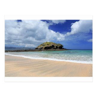 Paradise beach coast and deserted island postcard