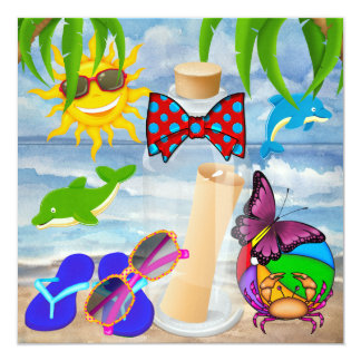 Paradise Beach Message in a Bottle - SRF 5.25x5.25 Square Paper Invitation Card