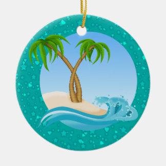 Paradise Beach Double-Sided Ceramic Round Christmas Ornament
