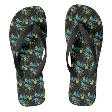 Beach Themed Paradise Beach Palm Tree Sun & Cranes Green Black Flip Flops