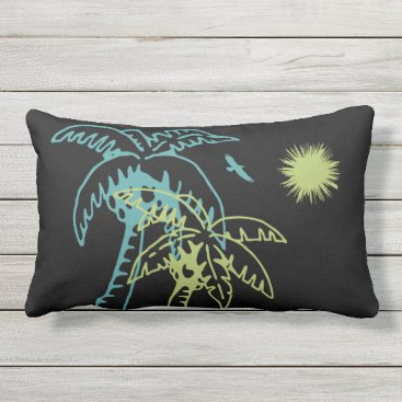 Beach Themed Paradise Beach Palm Tree Sun & Cranes Green Black Outdoor Pillow