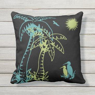 Beach Themed Paradise Beach Palm Tree Sun & Cranes Green Black Throw Pillow