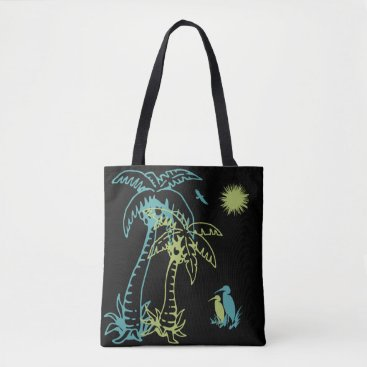 Beach Themed Paradise Beach Palm Tree Sun & Cranes Green Black Tote Bag