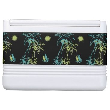 Beach Themed Paradise Beach Palm Tree Sun & Cranes Green Retro Cooler