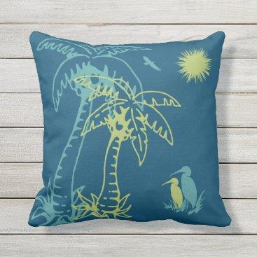 Beach Themed Paradise Beach Palm Tree Sun & Cranes Green Teal Throw Pillow
