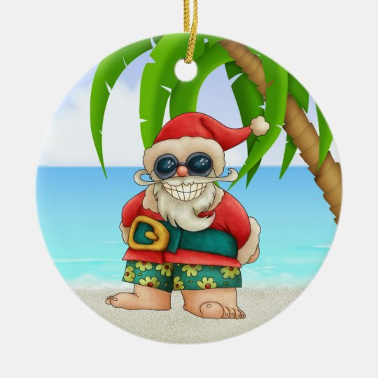 Paradise Beach Santa - SRF Ceramic Ornament