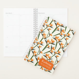 Paradise Bird Flower Pattern | Add Your Name Planner