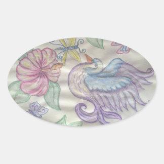 Paradise Bird Oval Stickers